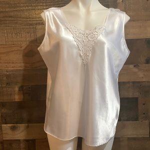 Vintage Escapades White Lacy Sleeveless Slip Top Camisole Size Large